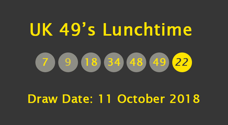 UK 49's Lunchtime Results: Thursday, 11 October 2018