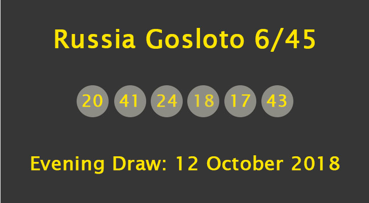 Russia Gosloto Evening Results: 12 October 2018